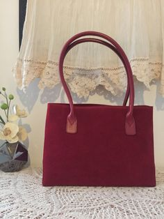 Red nubuck satchel, Red nubuck leather tote, Leather satchel tote, Soft leather tote bag, Red tote bag, Women purse, Shoulder handbag, Gift