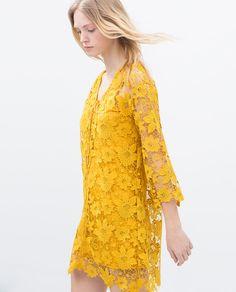 Image 5 of TIE NECKLINE GUIPURE DRESS from Zara