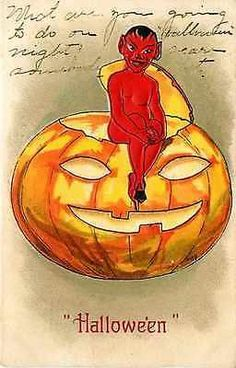 Halloween Artist H B Griggs 1908 Red Devil Giant Jack o Lantern Vintage Postcard…