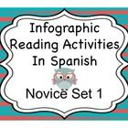 Reading activities in Spanish to accompany 10 different infographics.