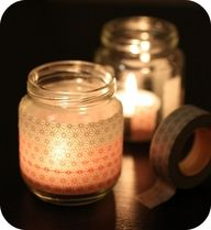 Un pot de bébé, masking tape, bougie chauffe plat = photophore, made by you !
