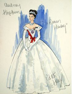 edith-head-costume-sketch for Audrey Hepburn in Roman Holiday theskinnystiletto.com