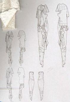 Fashion Sketchbook - draped garment sketches, fashion design, fashion portfolio // Louise Alsop