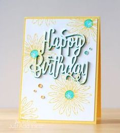 Eclipse Birthday for JAI Birthday card using Stampin Up's Daisy Delight for Just Add Ink by Jan McQueen. More info @ www. Happy Birthday Words, Happy Birthday Gorgeous, Happy Birthday Greetings, Birthday Images, Birthday Quotes, Birthday Wishes, Birthday Gifts, Birthday Cards For Women, Handmade Birthday Cards