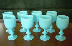VINTAGE-PORTIEUX-VALLERYSTHAL-BLUE-OPALINE-MILK-GLASS-TALL-GOBLETS-SET-OF-8 Glass Furniture, Price Guide, Mason Jar Wine Glass, Opaline, Glass Collection, Hurricane Glass, Milk Glass, Antiques, Tableware
