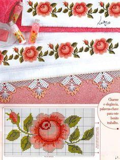 "Photo from album ""Punto Cruz"" on Yandex. Fall Cross Stitch, Cross Stitch Borders, Cross Stitch Rose, Cross Stitch Flowers, Cross Stitch Charts, Cross Stitch Designs, Cross Stitching, Cross Stitch Embroidery, Embroidery Patterns"