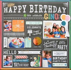 Gino's Birthday Recap - Scrapbook.com - Fill spots in patterned paper with small photos.