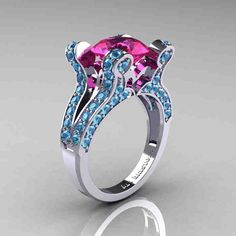 Pink And Blue Diamond Engagement Rings