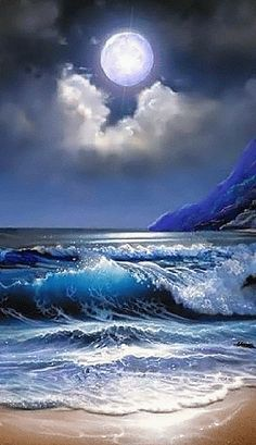 There is a purplish color to the moon. The clouds seem to cradle the moon. The waves are a beautiful, rich color of white, dark blue and light blue. Watch how the waves move. I love it. There is also a shine to the moon. Moon Pictures, Pretty Pictures, Moon Pics, Blue Pictures, Shoot The Moon, Beautiful Moon, Am Meer, Ocean Waves, Ocean Gif