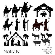 Items similar to COMMERCIAL USE Nativity Christ silhouette Overlays (eps, svg, dxf, ai, jpg, png) Vector print Digital ClipArt Wall Decal Vinyl Silhouette on Etsy