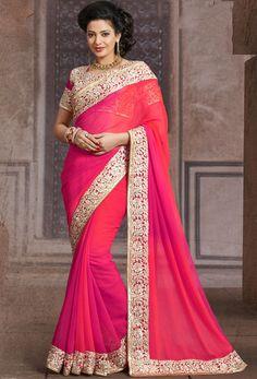 Pretty Pink Shaded Saree