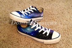 19fa0a7015 Items similar to Custom Painted Galaxy Converse Shoes on Etsy
