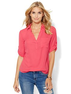 Shop Soho Soft Shirt - One-Pocket Popover. Find your perfect size online at the best price at New York & Company.