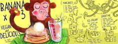 by Agata Kowalska Food Illustrations, Illustration Art, Baking Flour, Banana Pancakes, Food Menu, Drawings, Recipes, Behance, Cook