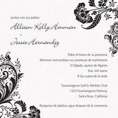 Bilingual English Spanish Wedding Invitation Pinterest Spanish