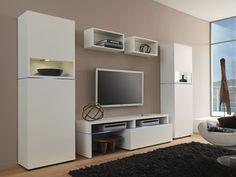 Creative Furniture AMSTERDAM CS 11183 Wall Unit - MATERIAL;MDF, Melamine, Tempered Glass, LED Lighting Modern livingroom furniture.