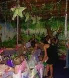 indoor forest fairy parties - love the stars and vines on the ceiling