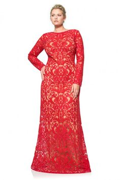 Corded Embroidery on Tulle Long Sleeve Gown - PLUS SIZE | Tadashi Shoji