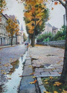 Pekarska Street, Lviv. Arkady Orekhov. Аркадій Орехов (1949-) 21 3/4 x 15 3/4 , Ukraine, from Iryna
