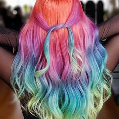 color hair, rainbow wavy curly hair with wand for long hair, Hair color for summer, Unique wavy hairstyle with layers for medium length hair Cute Hair Colors, Pretty Hair Color, Hair Dye Colors, Rainbow Hair Colors, Rainbow Nails, Curly Hair With Wand, Hair Wand, Pelo Multicolor, Wedding Hair Colors