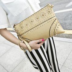 Fashion Rivets Embossed Rhinestone Clutch Bag Cute Clutches - Fashion Bags- ByGoods.com