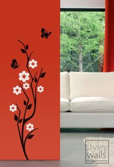 Japanese Cherry Blossom and Butterflies Vinyl Wall Decal Simple Wall Paintings, Creative Wall Painting, Creative Wall Decor, Wall Painting Decor, Mural Wall Art, Creative Walls, Interior Wall Colors, Meditation Room Decor, Pillar Design