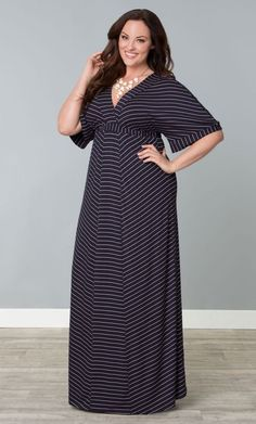 Kiyonna Maxi Dress Size #PlusSize  2X with black,purple and white stripes for great casual style that we love in NYC! And since this dress is under $70 it's something else we love here in NYC and that is a fashion bargain!
