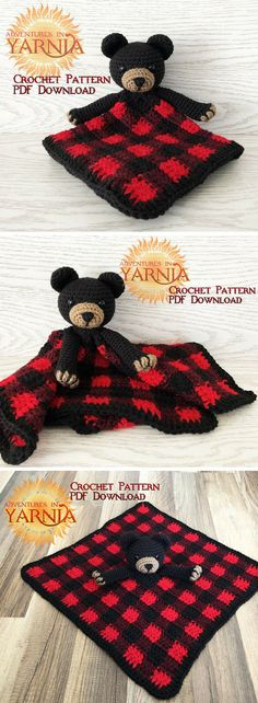 Plaid Black Bear Lovey Crochet Pattern | Lumberjack Nursery Decor | Buffalo Plaid Baby Blanket | Rustic Nursery #ad #crochet #crocheting #crochetpattern #pattern #patternsforcrochet #babyknits #babyknitting #blanket #lovey #babyboy #download #downloadandprint #pdf #printable #print
