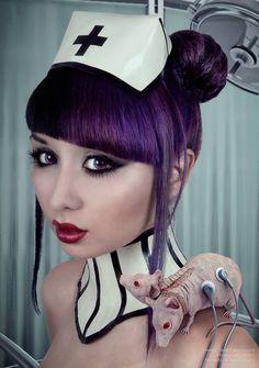 MPM7 Photography for Dead Lotus Latex Design #face #latex #nurse #dark #horror #mice #purple #hair