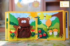 "Feed the Bear Page - Bear is very hungry and needs to feed! Pick his food and feed him! Raspberries and mushrooms with Velcro. Compare mushrooms and teach the concept of ""large - small"". Bee hid behind a bush, pull the verevchku she flies). A hive hidden delicious honeycomb) Under leaves hid two bees, compare large and small) - Developmental book for Artem! - Community ""Needlework"" / Needlework"