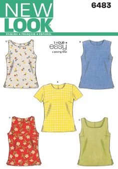 New Look Sewing Pattern 6483 - Misses Tops Sizes: A (6,8,10,12,14,16)