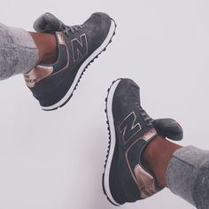 Rose gold and grey New Balance.