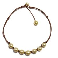 Fine Pearls and Leather Jewelry by Designer Wendy Mignot Suns South Sea Gold Necklace