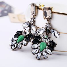 100% Handmade Crystal and mint colour stone Statement drop Earrings.