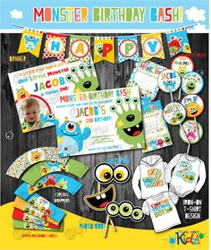 Boy's Monster Party Package  monster Birthday por ItsAllAboutKidz, $32.00