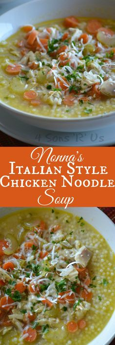 A quick and easy soup, you'll be surprised by the rich flavor in such a simple recipe. Nonna's Italian Style Chicken Noodle Soup tastes like Grandma slaved away at the stove all day stirring the love into every last drop. It's the answer to whatever ails you, in liquid form.