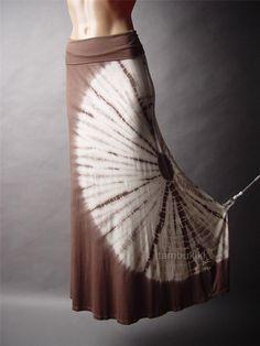 Brown Tie Dye Foldover Maxi Skirt