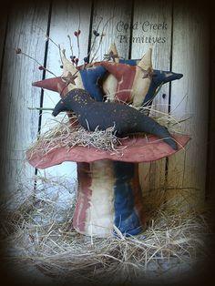 Primitive Americana Uncle Sam Hat With Crow by ColdCreekPrimitives, $28.95