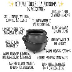 Cauldrons are a versatile tool for every witch! They are a great items to include on the altar to represent the water or fire element.