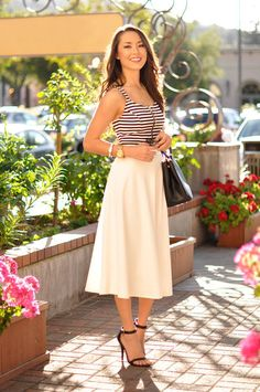 stripped tank or tee with midi skirt
