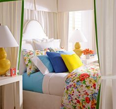 Refreshing, preppy and colorful floral bedding from Ralph Lauren Home, the Watch Hill collection