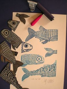 LINK MIGHT NOT WORK! Going to use this idea with Foam and Grade Good tie in with West coast Art.) printmaking series of Northwest native american fish? Printmaking, collage and mixed media Silkscreen, Stamp Carving, Art Graphique, Tampons, Fish Art, Linocut Prints, Art Plastique, Teaching Art, Art Techniques