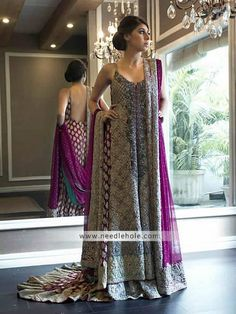 Glamourous purple wedding dress for brides, sweet-heart neckline flared embellished court train chiffon bridal shirt comes with two legged flared embellished chiffon bridal sharara and heavy embellished chiffon brial veils  Shop designer umar sayeed wedding dresses bridal clothes Beautiful court train bridal shirt comes with heavy embellished bridal sharara and embellished bridal dupatta