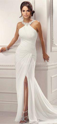 beach wedding dress http://tbgowns.com. Pretty but looks more like walking the red carpet than a beach