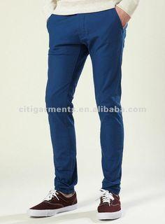 Moda masculina meados azul stretch skinny chino/chinos calças para homens-Calças curtas e calças-ID do produto:551112301-portuguese.alibaba.com