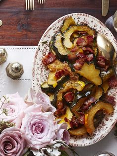 Roasted Acorn Squash with Maple-Bacon Drizzle  - CountryLiving.com Thanksgiving Dinner Recipes, Thanksgiving Sides, Holiday Recipes, Hosting Thanksgiving, Holiday Foods, Fall Recipes, Christmas Recipes, Recipe For Roasted Acorn Squash, Acorn Squash Recipes
