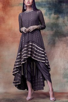 Shop Vvani by Vani Vats Embroidered Dhoti Kurta Set , Exclusive Indian Designer Latest Collections Available at Aza Fashions Designer Party Wear Dresses, Kurti Designs Party Wear, Dress Designs, Indian Fashion Dresses, Indian Designer Outfits, Maxi Dress With Sleeves, Casual Dresses, 2017 Wedding, Wedding Dress