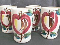 Purinton Pottery Apple Tumblers Set Of Four Vintage Kitchenware  offered by #rubylane shop #Saltymaggie's Treasures