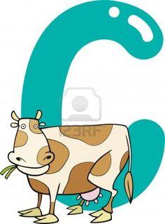 ilustración de dibujos animados de la letra C de la vaca