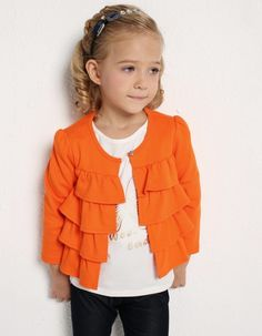 Arshiner Kids Girl Fashion Casual Round Neck Long Sleeve Ruffle One Button Solid Outerwear